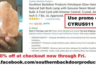 Cyrus Webb and Southern Backdoor Products offer Deal on Himalayan Salt Lamp through Friday